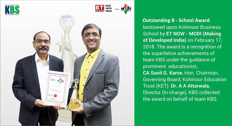 Outstanding B-School Award by ET NOW – MODI (Making of Developed India)